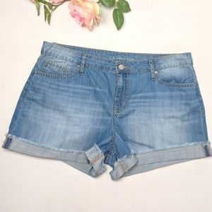 Calvin Klein distressed blue short shorts, size 12